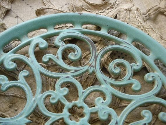 Vintage large french aqua metal ornate trivet