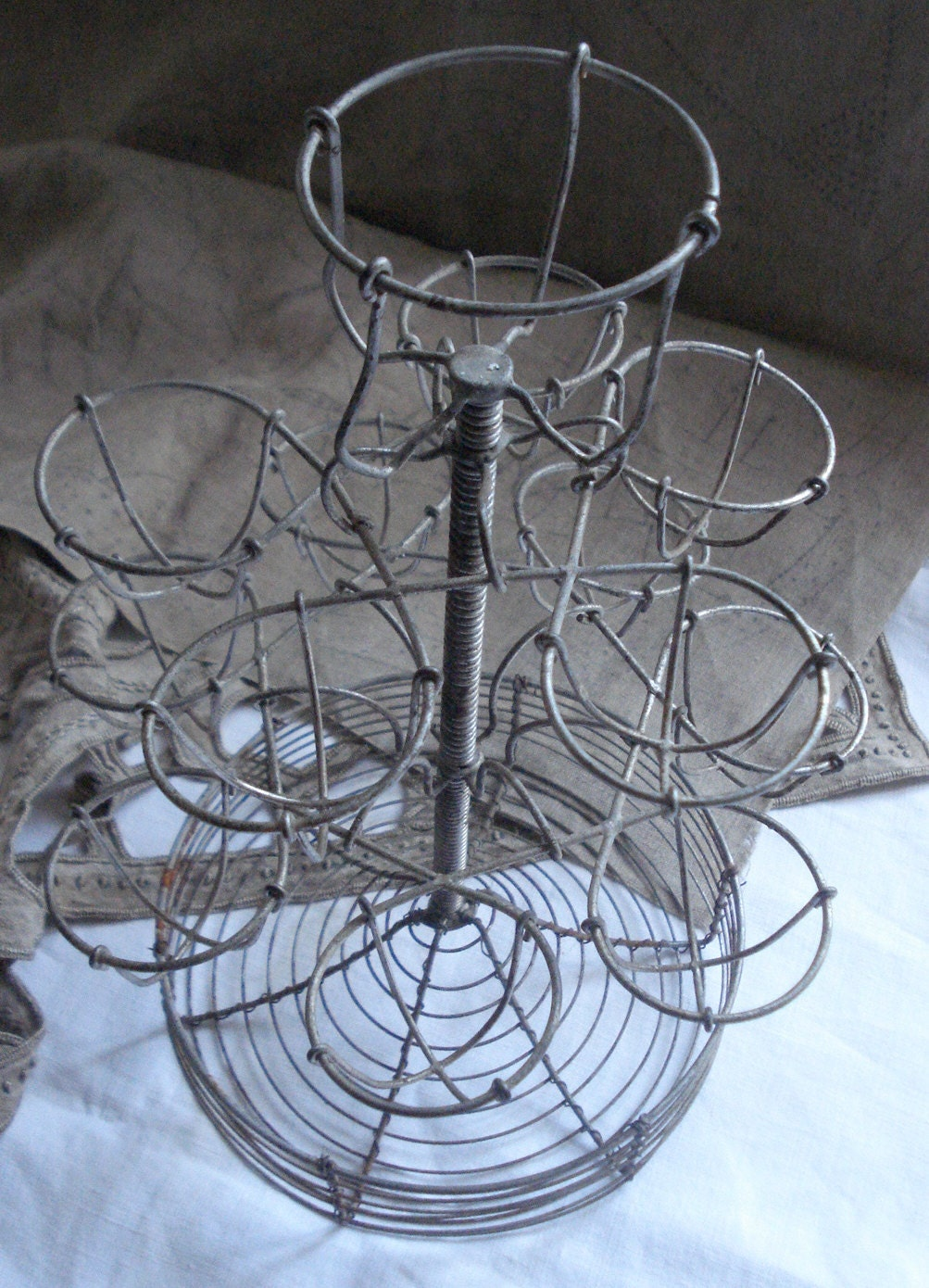 Vintage French Bistro Metal Wire Eggs Stand Display