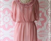 VALENTINE HOT SALE - Our Sweet Winter Sweet Pink Nude Dress Delicate Puffed Short Poet Sleeve Ruffle Around Neck