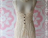 Special Valentine Sale - Mommy Crocheted - Tank Top Cream Floral Pattern Long Tunic Gauze Wooden Bead Mix And Match Tank