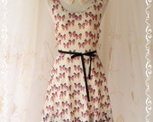 1 LEFT SALE - Butterfly On Roses - Sundress Spring Summer Inspired Lovely Butterfly Print On Elastic Roses Lace Black Ribbon Tie