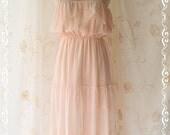 Spring Sale - Sunshine Day - Maxi Sundress Light Pink Brush Sweet Lovely Bohemian Spring Summer Sundress