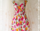 SALE - Colorful Time III - Colorful Collection Vibrant Breeze Sundress Roses Print Ladies Style Sweet Spring Summer Dress