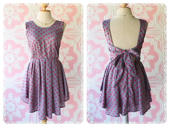 A Party - Dress - Prom Party Cocktail Bridesmaid Dinner Wedding Night Dress  Sweet Light Gray With Polka Dot Glamorous Gorgeous Dress