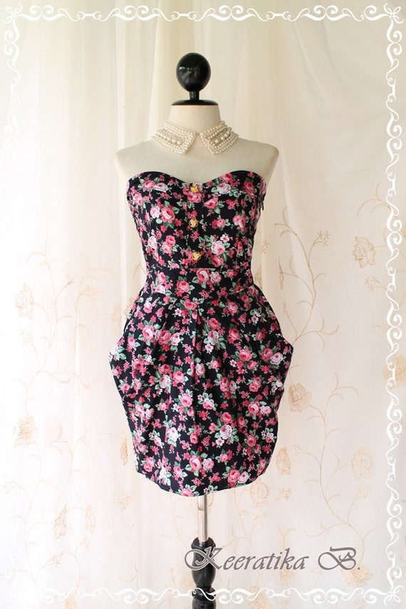 A Lovely Queen III - Strapless Classic Cocktail Majestic Dress Playful Glamorous Floral Print Party Prom Wedding Bridesmaid Puffed Skirt