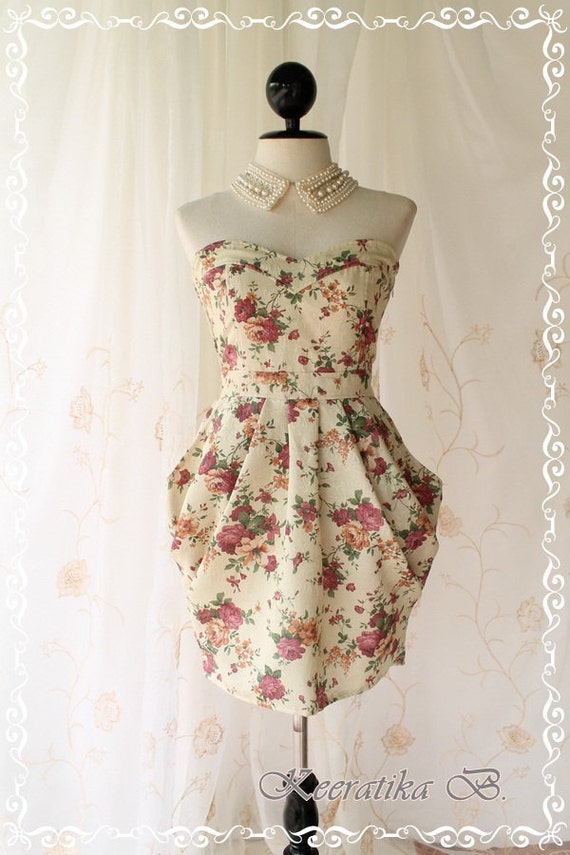 A Lovely Queen III - Strapless Classic Cocktail Dress Light Gold Playful Glamorous Floral Print Party Prom Wedding Bridesmaid Puffed Skirt