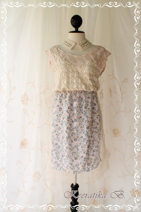 SPRING SALE - Every Season Dress - Artistic Sweet Romance Simply Lady Sundress Light Beige White Spiral Lace Top Spring Summer