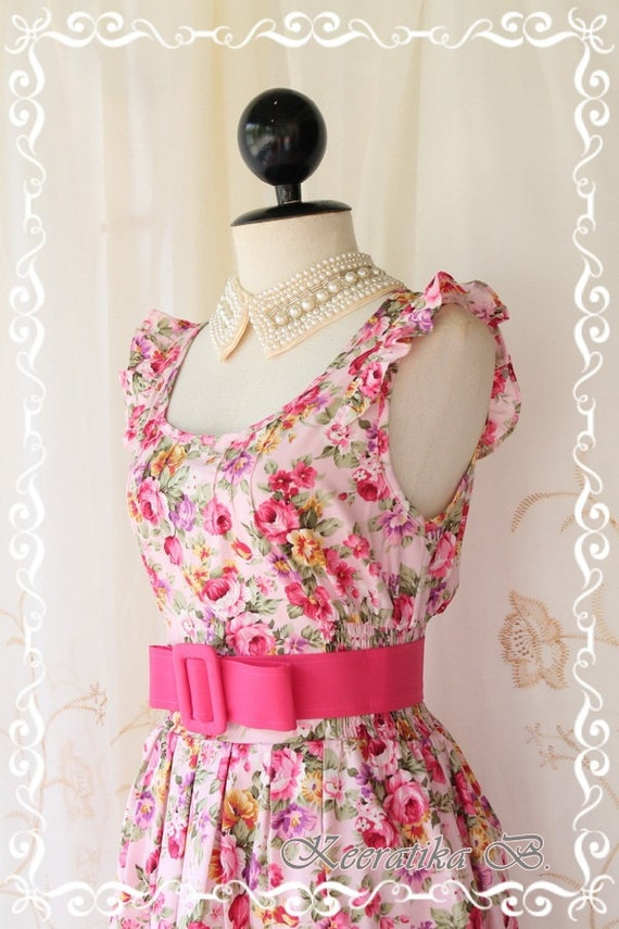 Nature Floral Garden - Sweet Beautiful Sundress Candy Pink Tone With Gorgeous Floral Print Loose Elastic Waist