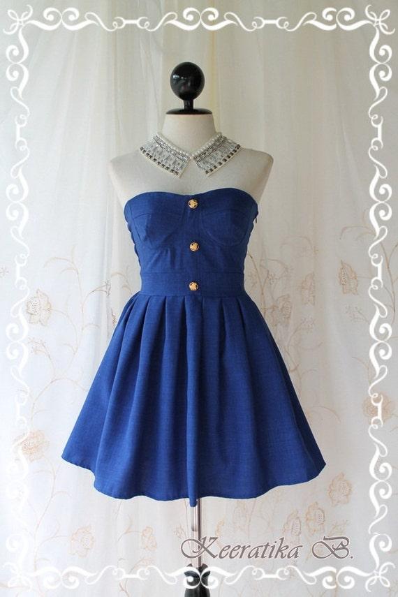 Beauty Queen - Strapless Dress Navy Tone Golden Buttons Embroidered Party Wedding Dinner Sweet Romance Dress