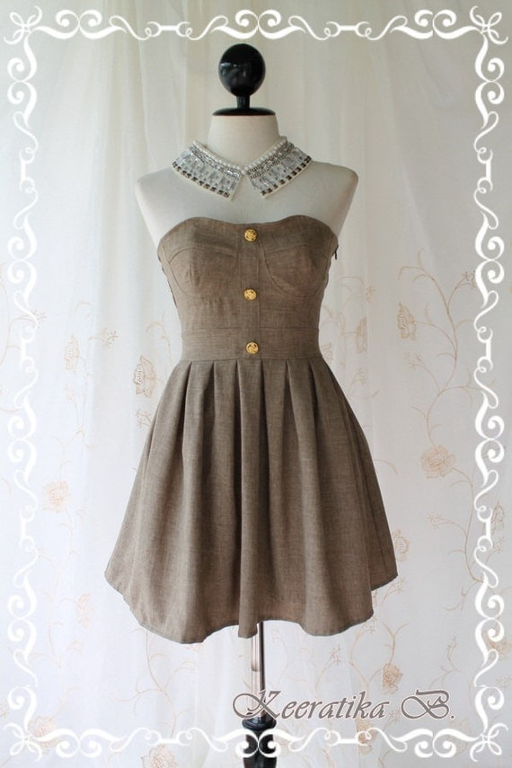 Beauty Queen - Strapless Dress Charcoal Gray Brown Tone Golden Buttons Embroidered Party Wedding Dinner Sweet Romance Dress
