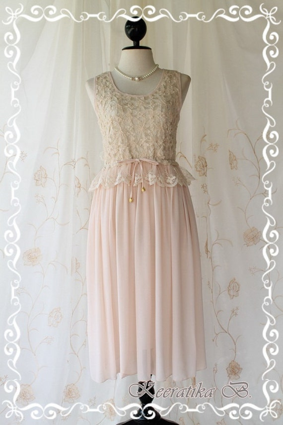 Marie - Mid Maxi Dress Sweet Pastel Light Pink Nude Toned Pale Cream Lacy Top Sweet Glamorous Gorgeous Everyday Every Season Dress
