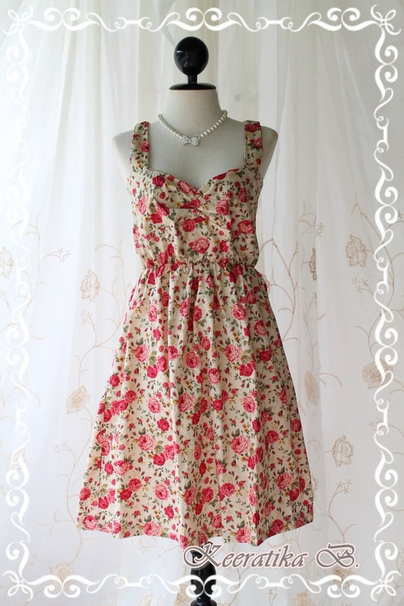Funny Summer - Summer Sundress Cream With Petite Floral Print Sweet Lovely Spring Summer Dress For Plus Size Only L-XL