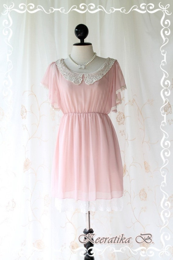 All About Love - Sweet Charmed Sundress Light Pink Nude Toned Crochet Peter Pan Little Flutter Sleeves