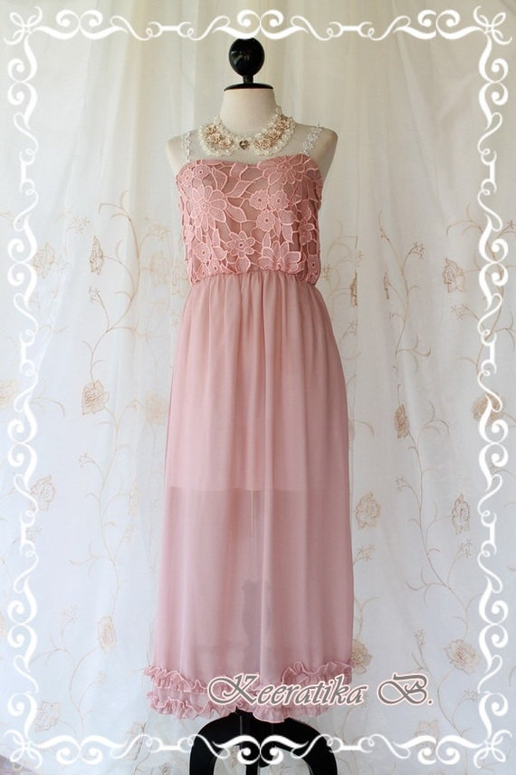 Lady And Floral - Maxi Party Day Dress Pink Nude Lace Strap And Strapless Maxi Dress Sweet Beautiful Gorgeous Long Dress