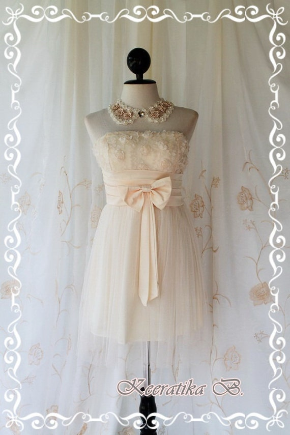 Princess Of The Night Cocktail Dress - Soft French Cream Toned Wedding Prom Party Cocktail Night Dress Romance Tutu Skirt Floral Fabrics