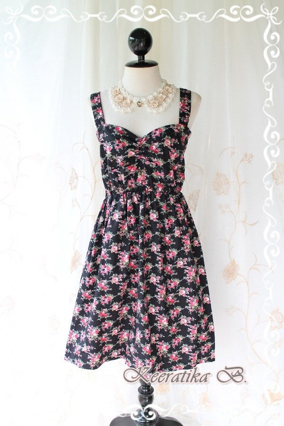 Funny Summer - Summer Sundress Black With Petite Floral Print Sweet Lovely Spring Summer Dress For Plus Size Only L-XL
