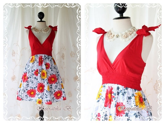 Summer Sale - Nature Floral Garden III - Stunning Beautiful Spring Summer Dress Tie Straps Bow Shoulder Floral Skirt With Red Top