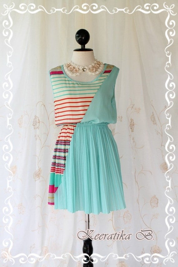 Strip Mini Dress - Awesome Whimsical Stripped Mini dress Red Hot Pink Mint And Cream Stripped Matched Mint Blue toned Adorable Mini Sundres