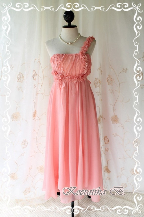 She's The Prom Queen ll - Gorgeous Peachy Apricot Gown Dress Prom Party Wedding Cocktail Dress Delicate Feminine Dress Floral Hand Sewn