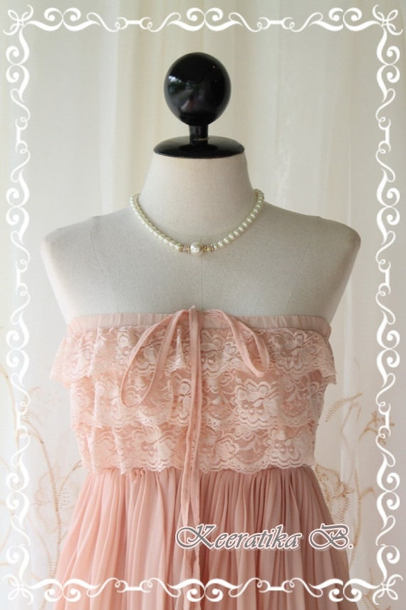 Sunshine Day Dream - Pink Nude Pastel Toned Silk Chiffon Pleated With Matching Lacy Top Halter And Strapless Long Tunic