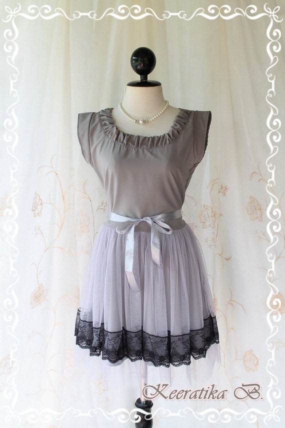 Lady In Tokyo - Sweet Gray Toned Girly Dress Pucker Round Neck Two Layers Skirt With Tutu and Black Lace Party Wedding Cocktail Dinner