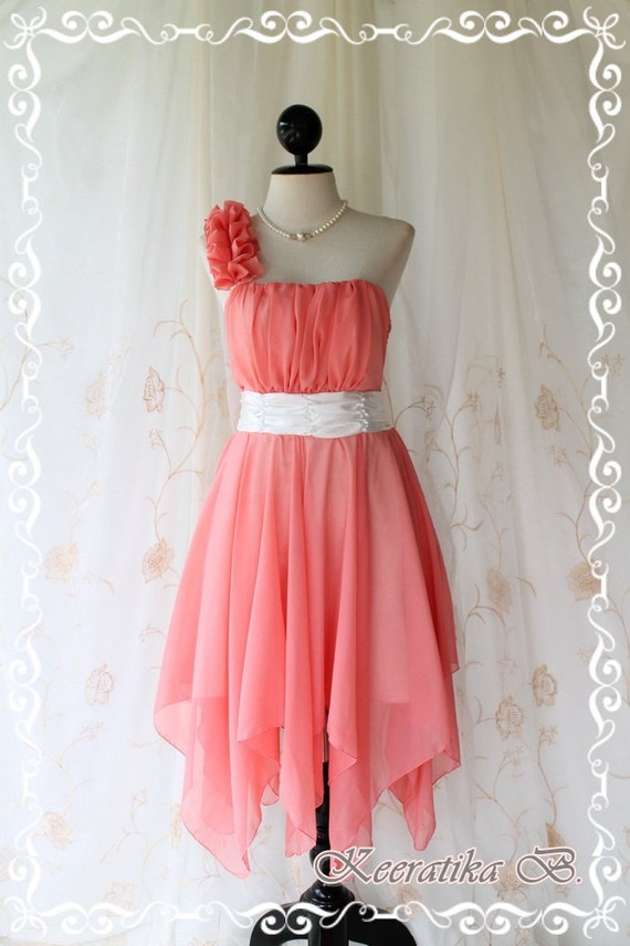 Juliet's Party - Peachy Cocktail Dress One Shoulder Strap Pleated Top Scarf Hem Prom Party Wedding Bridesmaid M-L