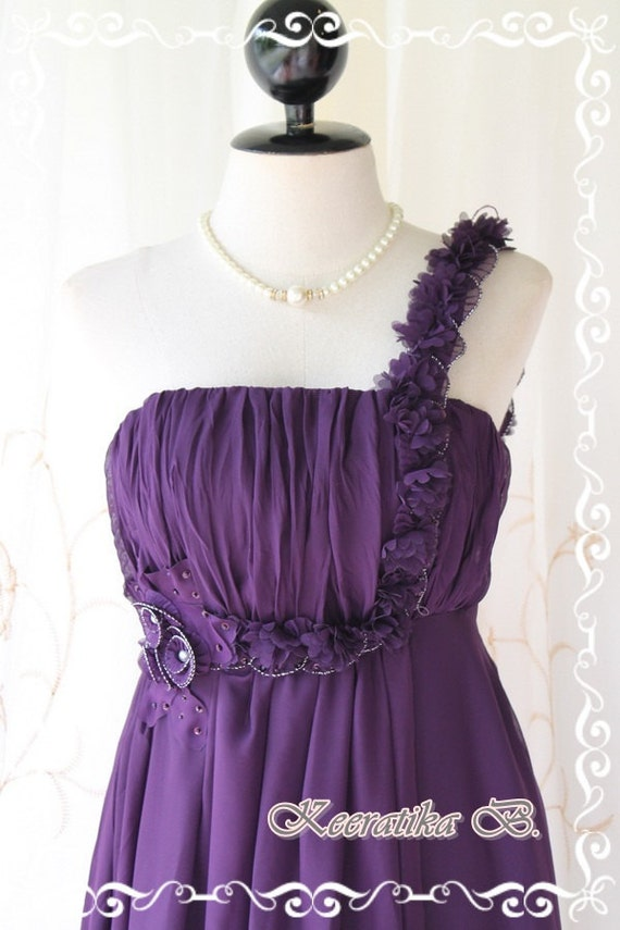 She's The Prom Queen ll - Gorgeous Purple Gown Dress Prom Party Wedding Cocktail Night Dress Delicate Feminine Dress Floral Hand Sewn