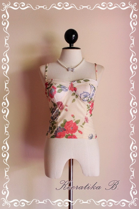 Sexy Top - Elastic Thin Delicate Short Bustier Top Floral Print Creamy Gold Background Spaghetti Strap Mix And Match Item  XS-S