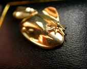 Reserved For fishieinthesea 2nd Payment , 18K solid gold heart pendant , 18k yellow gold heart star