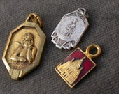 3 pcs french antique silver gold vermeil angle religious medals signed french antique  pendant notre dame virgin baby red enamel medal
