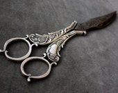 french antique  19th Century  Sterling Silver Antique  Grape Repousse Fruit Scissors  stamped feather wing deco