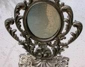 french antique art deco 1940s mirror vanity make up mirror Victorian white metal ornate mirror flower leaf decoration