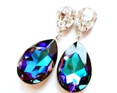Angelina Jolie's Inspired Extra Large Heliotrope Swarovski Crystal Post Earrings with 925 Sterling Silver Post