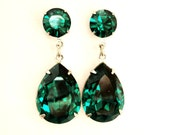 SALE was 54.99 / Emerald Green Angelina Jolie's Inspired Estate Style Dangle Post Earrings with Swarovski Crystals