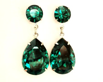 SALE was 54.99 / Emerald Green Angelina Jolie's Inspired Silver or 24 gold Plated Estate Style Dangle Post Earrings with Swarovski Crystals