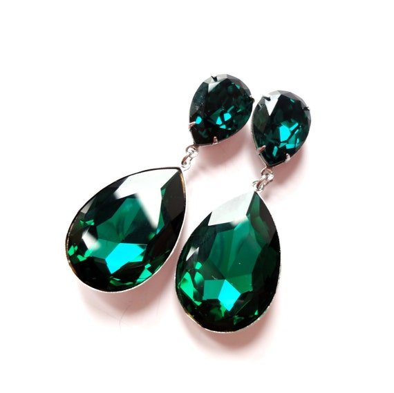 Angelina Jolie's Inspired Extra Large Emerald Green Swarovski Crystal Post Earrings