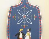 Wonderful Vintage Norwegian Decorative Hand Painted Bread Cutting Board Wall Decoration
