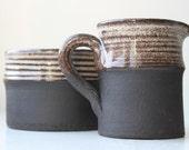 Beautiful Vintage Modern Black Brown and Beige Stoneware Creamer and Sugar Bowl Set