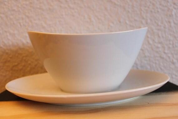 Vintage Danish Modern White Ceramic Gravy Boat with Attached Under Dish