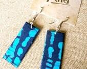 Indigo Blue Batik Fabric Earrings