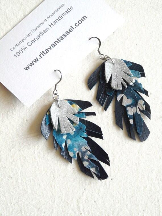 Celestial Night Sky Batik Fabric Leather Feather Earrings
