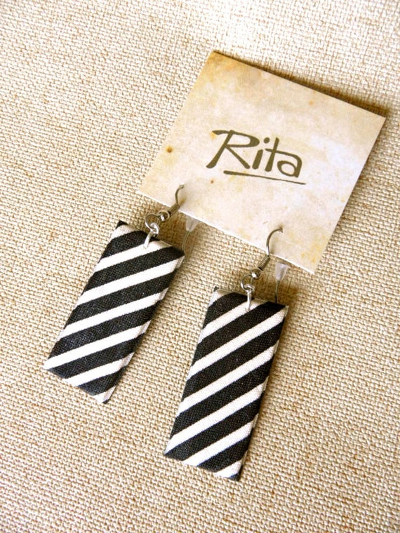 Black and White Stripes Fabric Earrings
