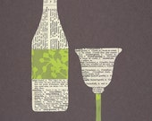 Wine Bottle and Glass Notecards
