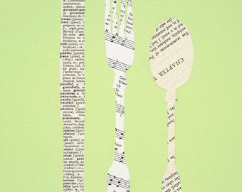 Silverware Paper Collage Print