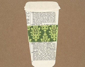 Coffee Cup Paper Collage Print