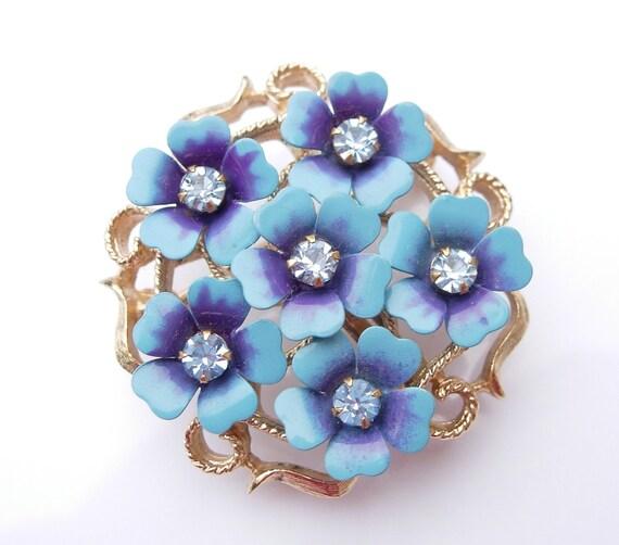 Vintage Metal Enamel Flower Brooch Pin pendant Costume Jewelry Rhinestones Blue Avon
