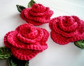 Crochet flowers set of 3 roses, 6 leaves ,applique in 100% cotton quality yarn - FREE SHIPPING - swisscharme