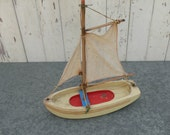 Vintage wood pond boat , sail boat with cloth sail - it Floats Beach House decor