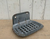 Vintage gray enamelware soap dish with drip tray Farm House decor