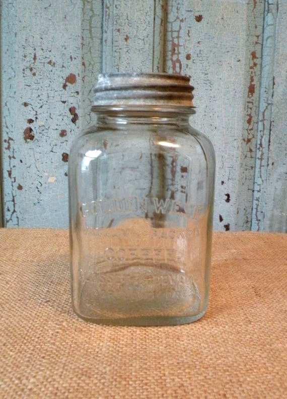 Golden West coffee clear glass jar with zinc lid